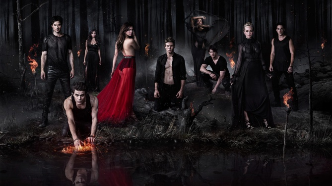 The cast--in character--of  supernatural HS-to-college melodrama Vampire Diaries.